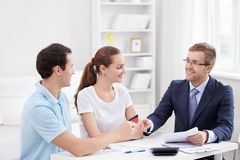 Consultant with couple Stock Image