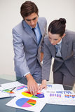 Consultant and customer looking at statistics Royalty Free Stock Photos