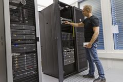 IT Consultant in Data Center Royalty Free Stock Photography