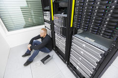 IT consultant in datacenter with tough problems Royalty Free Stock Photography
