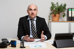 Consultant discusses a business plan Stock Photo