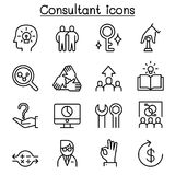 Consultant & Expert icon set in thin line style. Consultant & Expert icon set in thin line style vector illustration graphic design Royalty Free Stock Photo