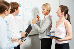 Consultant giving advice to business team. Senior consultant giving advice to business team in an office Royalty Free Stock Photography