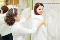 Consultant helps bride chooses fur cape. Female shop consultant helps bride chooses fur cape at shop of wedding fashion. Focus on girl Royalty Free Stock Image