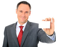 Consultant holding business card Royalty Free Stock Image