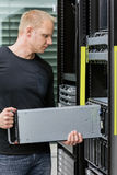 It consultant install blade server in datacenter Royalty Free Stock Image