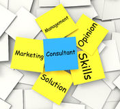 Consultant Post-It Note Shows Specialist Or Royalty Free Stock Image
