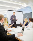Consultant in a presentation during a business meeting. In the conference room Stock Photos