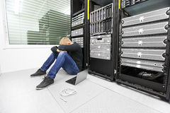 IT consultant with problems in datacenter Stock Image