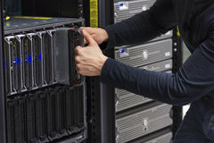 IT Consultant Replace Blade Server Stock Photo