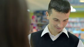 Consultant store uses the tablet stock video footage