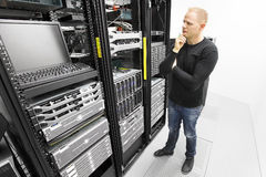 IT consultant try to solve problems in datacenter Royalty Free Stock Photography