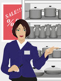 Consultant. The woman consultant in the store royalty free illustration