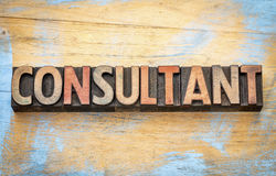 Consultant word in wood type Royalty Free Stock Photo