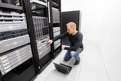 It consultant work with backup in datacenter Royalty Free Stock Photos