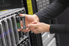 It consultant work on blade server in datacenter Stock Photography
