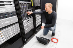 It consultant work with blade servers Royalty Free Stock Image
