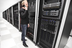 It consultant works in large enterprise datacenter Stock Image