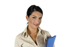 Consultant young woman. Beautiful consultant woman with folder,more photos with this model in Business people ,laptop and money Stock Photos
