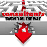 Consultants Show You the Way Maze Arrow Breaking Walls stock illustration