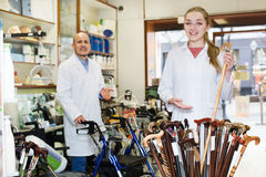 Consultants in store with orthopaedic goods. Two consultants working in a special store with the orthopaedic goods royalty free stock photos