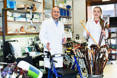 Consultants in store with orthopaedic goods Royalty Free Stock Photos