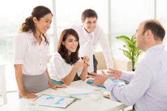 Consultation with boss Stock Image
