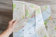 Istambul city map. The consultation of the city map of Istambul royalty free stock photo