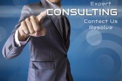 Consultation de presse d'homme d'affaires des affaires conceptuelle image stock