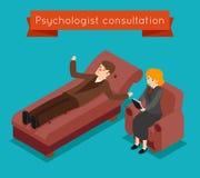 Consultation de psychologue Dirigez le concept mental de problèmes dans le style 3D isométrique illustration libre de droits
