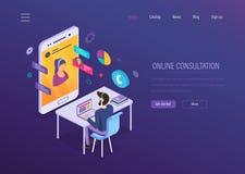 Consultation en ligne Causerie en ligne, dialogue de voix, vidéoconférence, support technique illustration stock