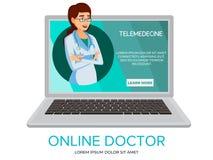 Consultation en ligne de docteur de bande dessinée de vecteur illustration stock