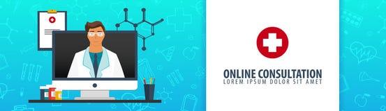 Consultation en ligne Drapeau médical Soins de santé Illustration de médecine de vecteur illustration libre de droits