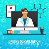 Consultation en ligne Fond médical Soins de santé Illustration de médecine de vecteur illustration libre de droits