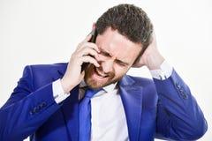 Consultation et aide Concept d'appel d'affaires Négociations mobiles Service de support technique d'appel Prise d'homme d'affaire photographie stock