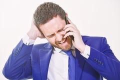 Consultation et aide Concept d'appel d'affaires N?gociations mobiles Service de support technique d'appel Prise d'homme d'affaire photo stock