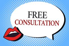 Consultation gratuite d'apparence de note d'écriture Photo d'affaires présentant donnant des discussions médicales et juridiques  illustration stock