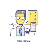 Consultation médicale Ligne icône de vecteur de diabète Photos libres de droits
