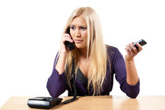Consultation by phone Stock Image