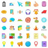 Consultation on phone icons set, cartoon style. Consultation on phone icons set. Cartoon style of 36 consultation on phone vector icons for web isolated on white Stock Photos