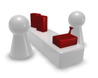 Consultation. Play figures in store - seller and customer - 3d illustration Royalty Free Stock Photos