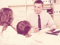 Consultation with school headmaster Stock Image