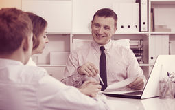 Consultation with school headmaster Stock Photo