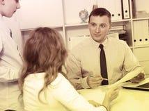 Consultation with school headmaster Royalty Free Stock Photo