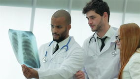 Consultation of the two doctors stock footage
