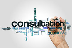 Consultation word cloud concept on grey background Stock Photos