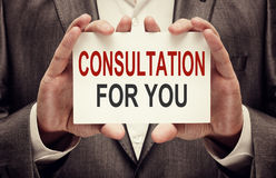 Consultation For You. Car with text in businessman hands royalty free stock photo