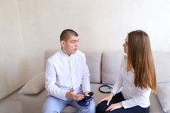 Consultative reception of doctor cardiologist guy who uses tonom Royalty Free Stock Image