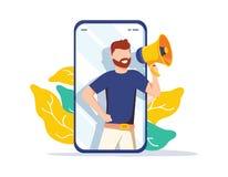 Consulte um conceito da ilustração do amigo, grito do homem no megafone, possa usar-se para a página de aterrissagem, molde, ui,  ilustração do vetor