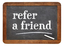 Consulte um sinal do quadro-negro do amigo fotografia de stock royalty free